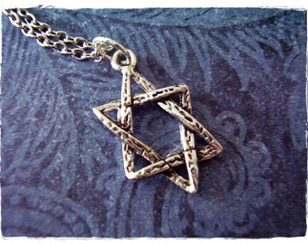 Silver Hammered Star of David Necklace - Antique Pewter Star of David Charm on a Delicate Silver Plated Cable Chain or Charm Only
