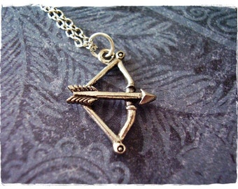 Archer Bow and Arrow Necklace - Antique Pewter Bow and Arrow Charm on a Delicate Silver Plated Cable Chain or Charm Only