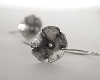 Silver Flower Earrings Large Handcrafted Oxidized Fine Silver Organic Flowers With Handcrafted Sterling Silver Earwires
