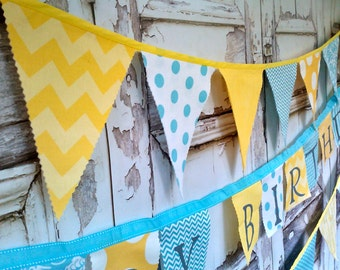 Fabric Bunting Party Banner Flags Birthday Banner Decor Yellow Aqua White Chevron Dots Modern Fabric Party Decoration Pennant Flag Garland