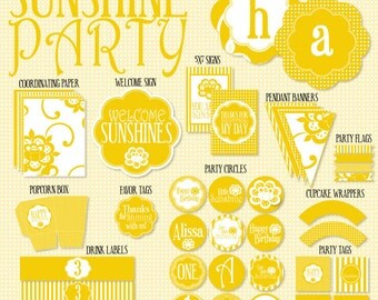 Yellow Sunshine Party PRINTABLE DIY Full Birthday Party by Love The Day