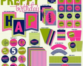 Preppy Party PRINTABLE Birthday by Love The Day