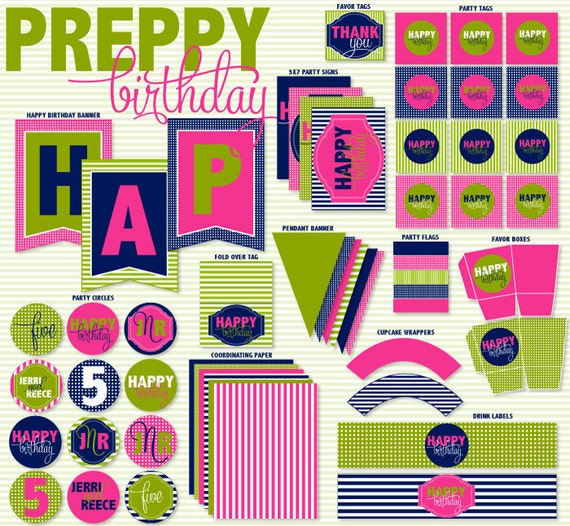 Preppy Party PRINTABLE Birthday by Love The Day