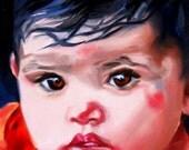 Original Oil Portrait Young Child Baby Girl Dark Hair Brown Eyes Sweet Infant Face Art 5 x 7