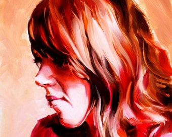 Oil portrait woman rich warm colors profile in shadow enigmatic dramatic beautiful original painting