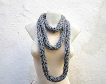 Chunky Scarf, infinity Scarves, Finger Knit Necklace, Knitting, Chain Loop Accessories, Women Autumn Scarf, Grey, Christmas, Gift for her