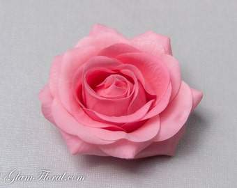 Bubblegum Pink Rose Hair Clip / Brooch / Corsage, Petite Real Touch Rose Fascinator