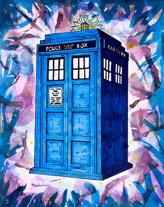 Items Similar To Tardis Splat Doctor Who Fine Art Print