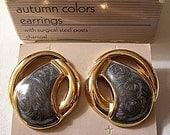 Grey Pearl Pierced Earrings Gold Tone Vintage Avon 1991 Autumn Colors Round Discs