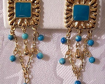 Blue Square Link Chain Strands Clip On Earrings Gold Tone Vintage Avon Turquoise Marbled Accent Beads Dangles