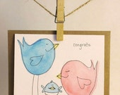 Handmade Congrats on your New Baby - Girl or Boy - Baby Announcement
