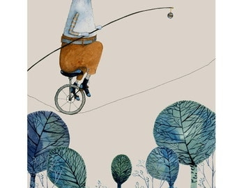 Dog giclee Print 8x11, Albert the Rope Cyclist  illustration
