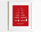 Kitchen Conversions Red Art Poster, Kitchen Art, Kitchen Posters, Kitchen Measurements,  13x19