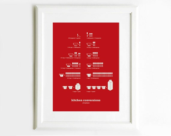 Kitchen Conversions Red Art Poster, Kitchen Art, Kitchen Posters, Kitchen Measurements,  13x19