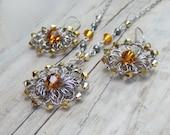 Yellow Swarovski Crystal Jewelry Set - Wire Crochet Jewelry Set - Ochre Yellow Jewelry Set - Yellow Bridesmaid Gift - Rustic Wedding Jewelry