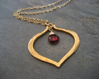 lotus heart rhodolite garnet necklace- heavy vermeil pendant and goldfilled chain