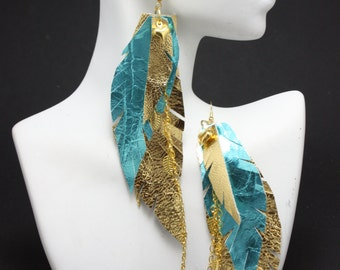 Turquoise and Gold Metallic Feather Leather Earrings w/ Chaining and Feather Charm 5-6 inches