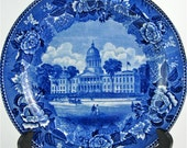 Antique 1911 Wedgwood Plate Maine Capital Cobalt Blue George W Quimby Image