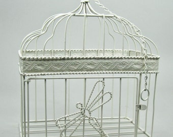 Wire Birdcage Pillar Holder Wedding Card Holder Planter Hand Painted in Cottage White by OlliesFineThings