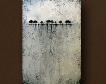 Custom Abstract Painting of Trees on the Horizon Heavily Textured 24 x 36 by Britt Hallowell MADE TO ORDER
