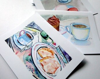 Stationery Coffee Greeting Card Set - Coffee Cafe Watercolor Art Notecards, Set of 12