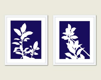 Botanical Prints - Set of 2 prints - Plant Print - Leaves Print - Navy Blue Wall Art - Modern Nature Wall Art