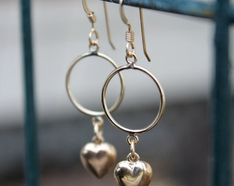 Gold-Filled Heart Charm Earring