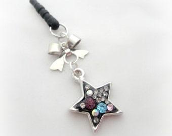 Black crystal star phone dust plug charm, earphone jack charm for iPhone Smartphone
