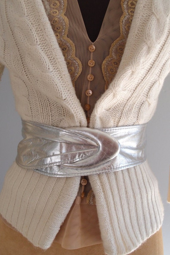 70s Belt Metallic Silver Soft Leather Wide Strap Belt By
