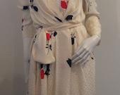Beautiful VTG 70s Lillie Rubin Creamy w/Floral Print Wrap Silk Dress