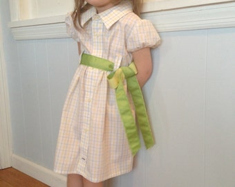 Cap Sleeved Upcycled Shirt Dress- size 4T/5T
