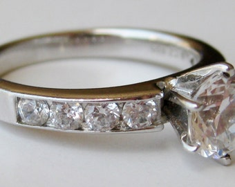 Vintage Faux Diamond Engagement Ring Sterling Silver Solitaire Diamond Ring size 8 1/2