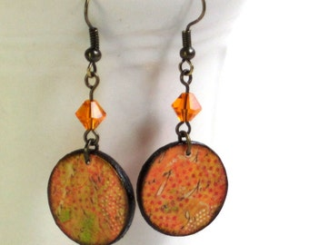 Decoupaged Earrings Wood Circles Dangle Crystal Stocking Stuffer Orange Winter Jewelry Citrus Colors