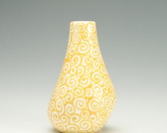 Small Ceramic Bud Vase, Pottery Flower Vase, Organic Sunflower Yellow Swirls Vase, Hand Painted Vase, Ceramic Organic Shape Vase