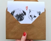 pug and cat greetings  card - valentines day