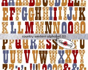 Country Western Digital Alphabet 02: Clip Art Pack (300 dpi) Digital Images (transparent png) Card Making Digital Scrapbook Letters Numbers