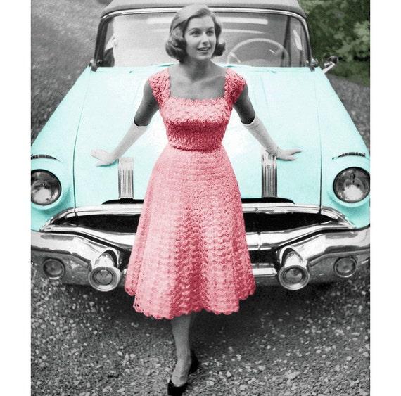 Vintage Crochet Pattern 1950s Lacy Evening Dress By