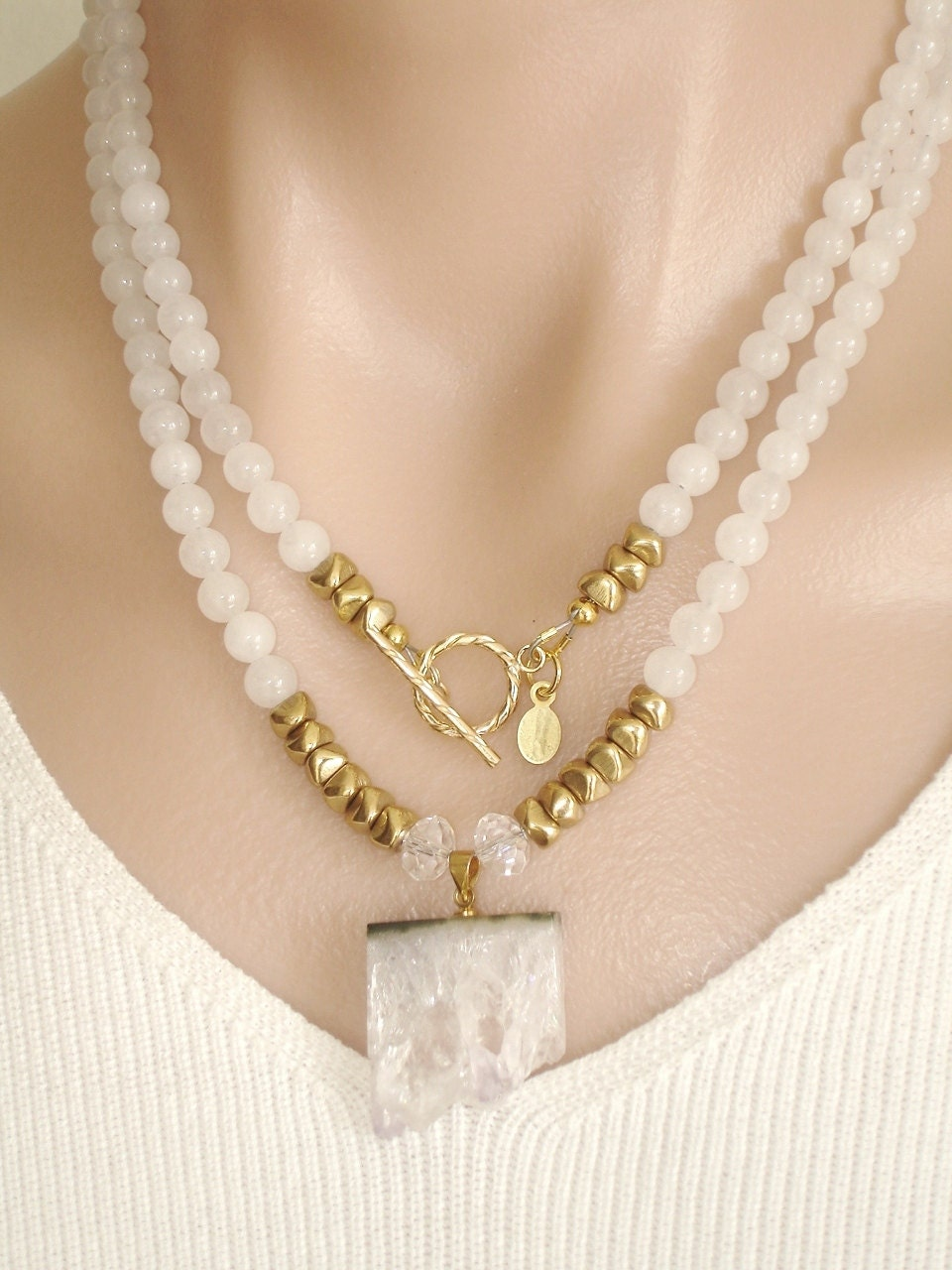 ashira white jade gemstone necklace with gf toggle and
