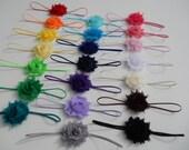 You Pick 7 - MINI Shabby Chic Rose Headband Set - 21 colors to choose from - Infant Headband - Newborn Headband - Children's Headband