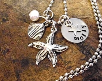Personalized Jewelry, Starfish Necklace, Pearl Necklace, Ocean Jewelry, Beach Jewelry, Nautical Jewelry