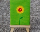 Mini Flower on Green - Small Painting on Canvas