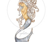 art nouveau mermaid original art print 8.5x11