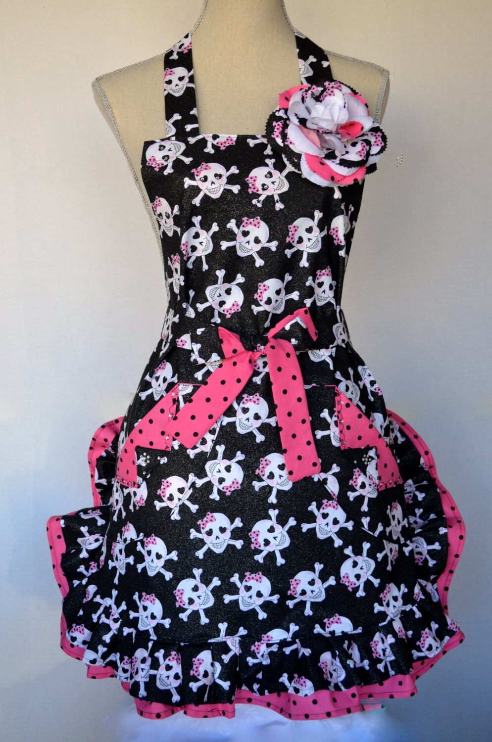 Pink Black Skull Apron Womens Full Double By Oliviabydesign