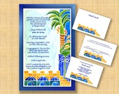 Printable BAR MITZVAH invitations - DIY Invitations - Print your own invitations - digital files - English Hebrew - Jerusalem Palm Tree