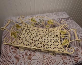 Vintage French Metal Basket Tray - Fruit or Flower Basket  -  13-002