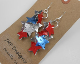 RED WHITE BLUE Earrings.  Recycled Soda Can Art.  Coca Cola Pepsi