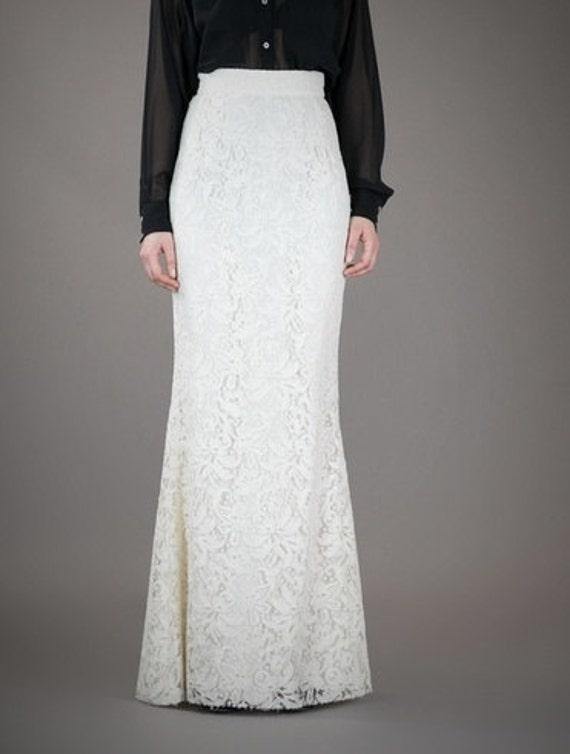floor length white lace high waist maxi skirt slightly