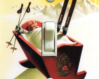 NORWAY Cradle Vintage Ski Poster Switch Plate (single)  ***FREE SHIPPING***