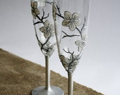 Snow White Flowers Wedding Champagne Flutes Hand painted Set of 2 CUSTOM ORDER for Alana