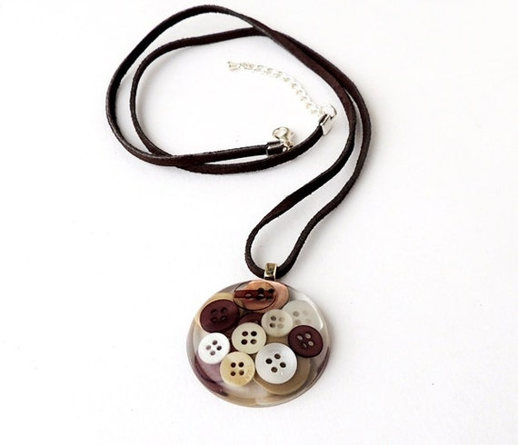 Brown Buttons Resin Pendant, Coffee Cream Chocolate, Leather Suede Necklace, Recycled